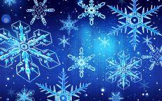 белые снежинки на синем фоне