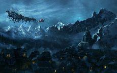 Санта Клаус летит над ночным городом