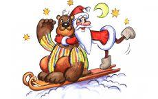 Сказочный Санта Клаус и медведь катаются на санках