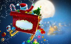 Дед мороз на санках летит поздравить всех детей