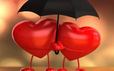 Открытка, день святого Валентина, два сердца под зонтом