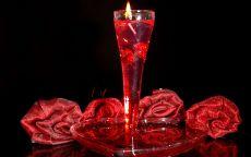 День Святого Валентина Свеча и розы