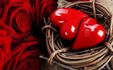 Открытка, День Святого Валентина, два сердца в гнезде, красные розы