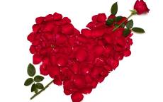 Открытка, День святого Валентина, сердце из лепестков роз