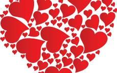 Открытка, день святого Валентина, 14 февраля, красные сердца