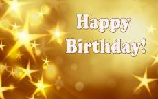 Открытка Happy Birthday золотые звезды