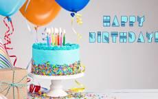Воздушные шары, подарок, торт со свечками