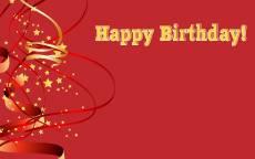 Надпись Happy Birthday, красная открытка с днем рождения