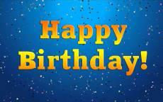 Надпись Happy Birthday, открытка с днем рождения