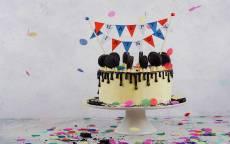 Торт, флажки happy Birthday