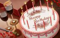С Днем Рождения, торт, вино, свечи