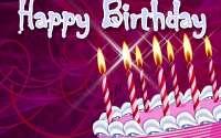 Розовый торт со свечками на День Рождения