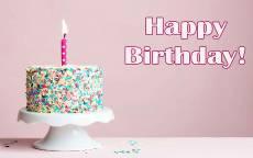 С днем рождением женщине, торт со свечкой