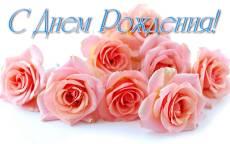 Открытка, День Рождения, букет роз, розовые розы