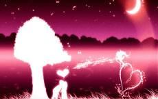 влюбленные, луна, белое дерево, розовый пейзаж