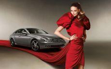 Девушка в красном платье и Мерседес