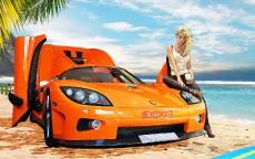 блондинка присела на желтый спортивный автомобиль