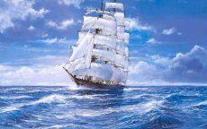 Фрегат с белыми парусами