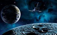 Полет космического корабля над Луной