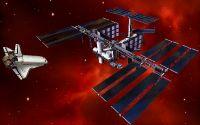 Космический корабль стыкуется с космической станцией