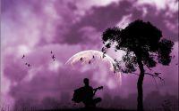 Гитарист на фоне луны