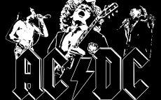Черно белый плакат группы AC-DC