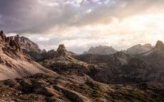 скалы, горная долина, облака, камни