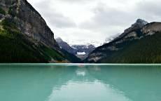 Природа, озеро, байдарка, горы, лес, склон