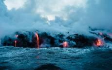 Вулкан, лава, озеро, пар, дым, кипяток