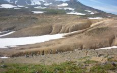 Застывшая лава под снегом