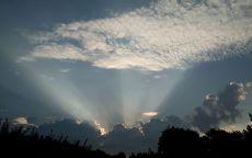 Облака подсвеченные солнцем.