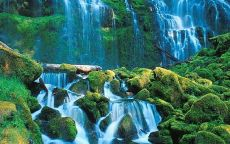 Водопад среди зеленых валунов