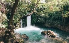 Водопад, голубая вода, пруд, деревья