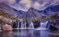 Водопады, отражение, горы, облака, камни, пена