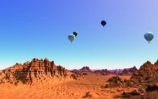 Воздушные шары над горной пустыней