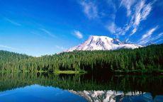 Снежная гора, лес и озеро