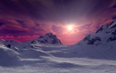 Северные горы на фоне заката