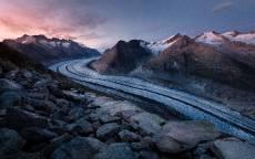 Горы, ледник, камни, валуны, небо, тень, снег