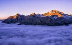 Гора, вершина, облака, высота, луч солнца