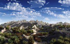 Горы с острыми вершинами на горизонте.