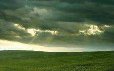 Солнце в облаках над полем