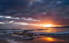 закат, море, океан, пляж, волны