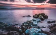 море, океан, берег, камни, закат, облака