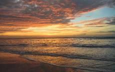 Море, вечер, пляж, волны, закат, облака, прибой