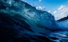 Волна, брызги, океан, синяя вода, берег