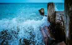 Брызги, прибой, пристань, море, волны