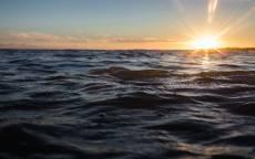 Волны, солнце, закат, лучи, горизонт, море, океан