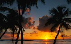 Солнце садиться в океан