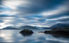 Природа, острова, горы, озеро, облака, отражение