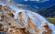 Горы, холмы, водопад